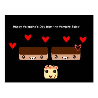 Cartão Postal Feliz dia dos namorados do vampiro Éclair