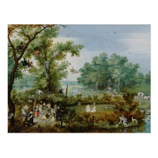 Cartão Postal Feliz Empresa em uma pintura do mandril