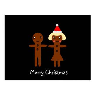 Cartão Postal Feliz Natal 2 do homem e da menina de