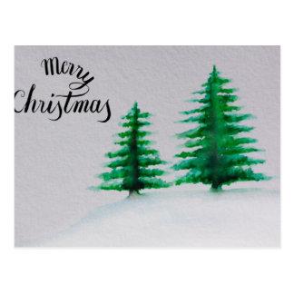 Cartão Postal Feliz Natal, aguarela da árvore de Natal