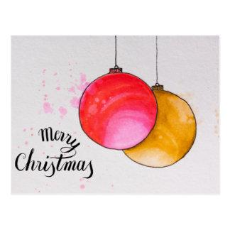 Cartão Postal Feliz Natal, aguarela das bolas do Natal
