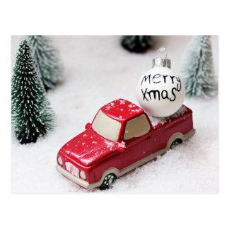 Cartão Postal Feliz Natal, árvore de Natal, automóvel do Xmas da