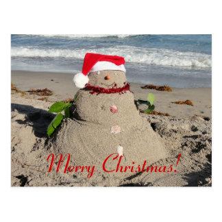 Cartão Postal Feliz Natal! boneco de neve do sandman