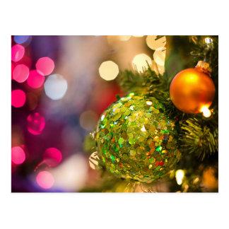 Cartão Postal Feliz Natal, brilho das bolas do Natal