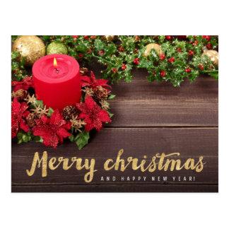Cartão Postal Feliz Natal (brilho do ouro)