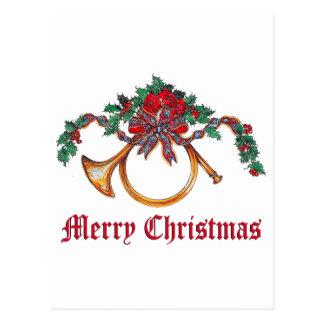 Cartão Postal Feliz Natal - chifre de bronze e azevinho e fita