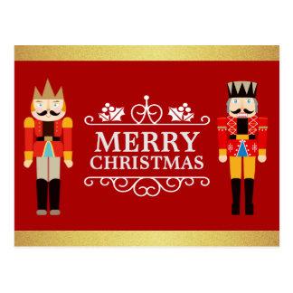 Cartão Postal Feliz Natal com brilho vermelho do ouro dos