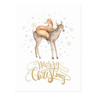 Cartão Postal Feliz Natal da neve do inverno dos cervos do Fox