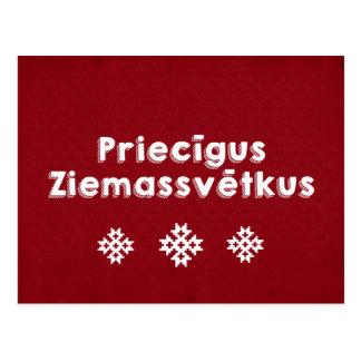 Cartão Postal Feliz Natal de Priecīgus Ziemassvētkus letão
