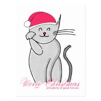 Cartão Postal Feliz Natal do gato & abundância afortunados da