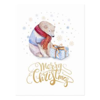 Cartão Postal Feliz Natal do urso polar