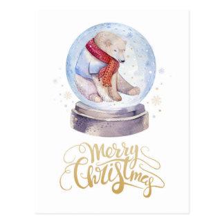 Cartão Postal Feliz Natal do urso polar da neve do inverno