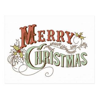 Cartão Postal Feliz Natal do vintage que cumprimenta