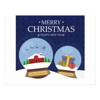 Cartão Postal Feliz Natal e globo da neve do feliz ano novo