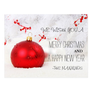 Cartão Postal Feliz Natal e ornamento do feliz ano novo