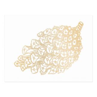 Cartão Postal Feliz Natal Gold pinha II