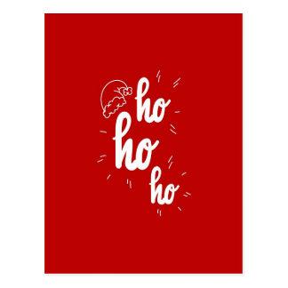 Cartão Postal Feliz Natal vermelho e do branco Ho Ho Ho