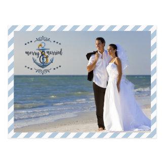 Cartão Postal Feliz náutica & casado, fotos das Listras-Dois do