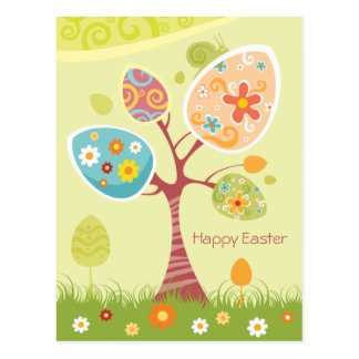 Cartão Postal Felz pascoa - árvore abstrata