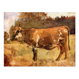 Cartão Postal Ferdinand Hodler, vaca em um pasto