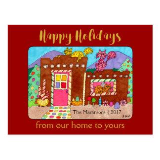 Cartão Postal Feriado bonito da casa & dos gatos de