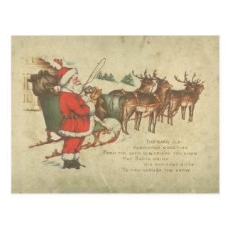 Cartão Postal Feriado da rena do trenó do papai noel do natal