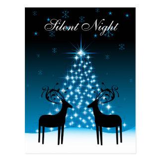 Cartão Postal Feriado silencioso da árvore dos cervos e de Natal
