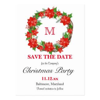 Cartão Postal Feriado vermelho do monograma da grinalda do Natal
