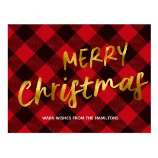 Cartão Postal Feriado vermelho do ouro da xadrez do búfalo do