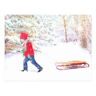 Cartão Postal Feriados do Natal do menino do trenó do inverno da