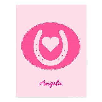 Cartão Postal ferradura e coração cor-de-rosa