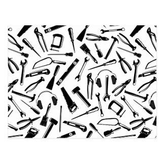 Cartão Postal Ferramentas pretas do teste padrão