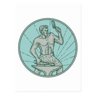 Cartão Postal Ferreiro que martela linha do círculo do batente a