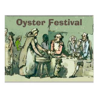Cartão Postal Fest da ostra, menina do vintage com ostras