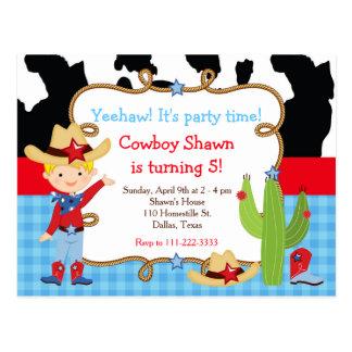 Cartão Postal Festa de aniversário ocidental do vaqueiro louro
