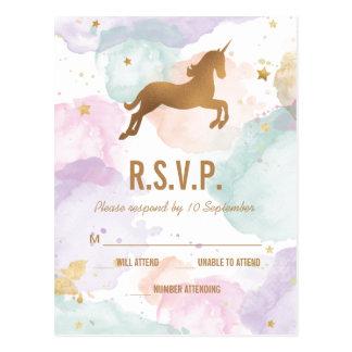 Cartão Postal Festa de aniversário Pastel RSVP do unicórnio