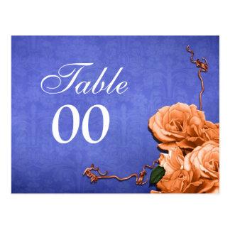 Cartão Postal Festa de casamento alaranjada azul do número da