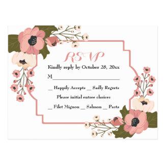 Cartão Postal Festa de casamento cor-de-rosa floral da aguarela