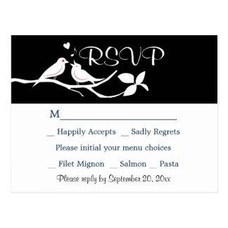 Cartão Postal Festa de casamento preto e branco dos Lovebirds de