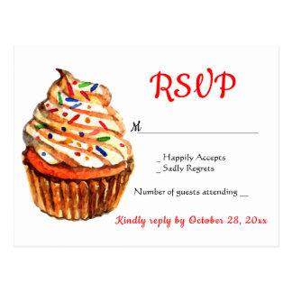 Cartão Postal Festa de casamento vermelha & branca do cupcake de