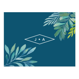 Cartão Postal Festa de noivado tropical da folha da aguarela