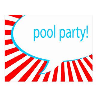 Cartão Postal festa na piscina! bolha cómica do discurso