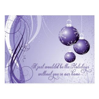 Cartão Postal Festa natalícia ornamentado do roxo e do White