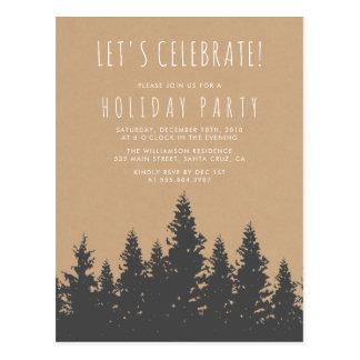 Cartão Postal Festa natalícia rústica da silhueta da floresta