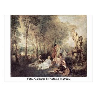 Cartão Postal Fetes Galantes por Antoine Watteau