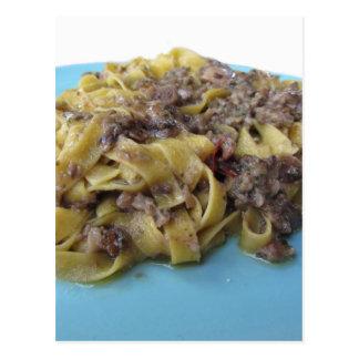 Cartão Postal Fettuccine ou massa fresca italiana do tagliatelle