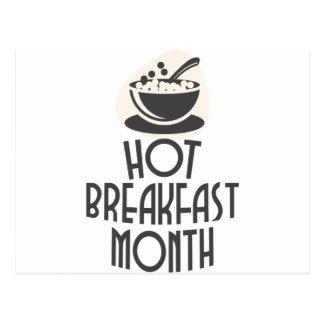 Cartão Postal Fevereiro - mês quente do pequeno almoço - dia da