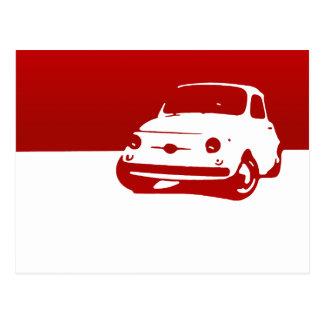 Cartão Postal Fiat 500, 1959 - vermelho na luz