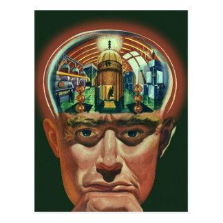 Cartão Postal Ficção científica do vintage, cérebro estrangeiro