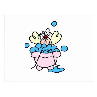 Cartão Postal Figura da vara dos termas no banho de espuma da